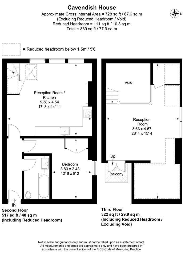 Floorplan for Flat 4 Cavendish House, Worple Road, Raynes Park
